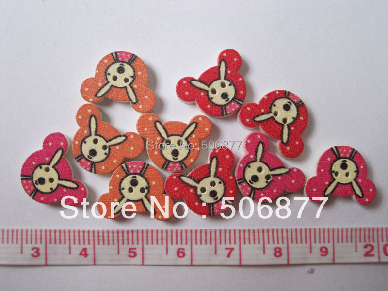 Drop Shipping Wholesale Accessories DIY Bulk 100pcs Wooden Buttons Craft Mixed Color pic rabbit Wood button Mark Decoration(China (Mainland))