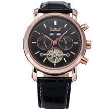 Jaragar aumentó la cosecha de oro caja de acero inoxidable hombre negros Auto Tourbillion mecánica cuero banda negocios vestido reloj de pulsera
