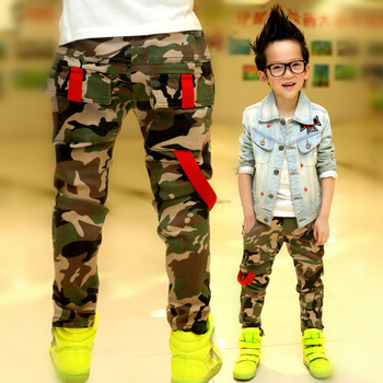 New 2015 Autumn Teens Jeans For Boy Camouflage Baby Boys Jeans Pants Designer Kids Jean Children's Elastic Waist Denim Long Pant