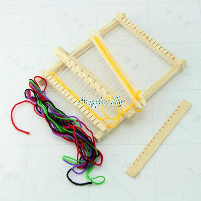 Handmade Mini Wood Weaving Loom Simple Textile Machine Learing Tools Kids Children Girl DIY Educational Toy(China (Mainland))