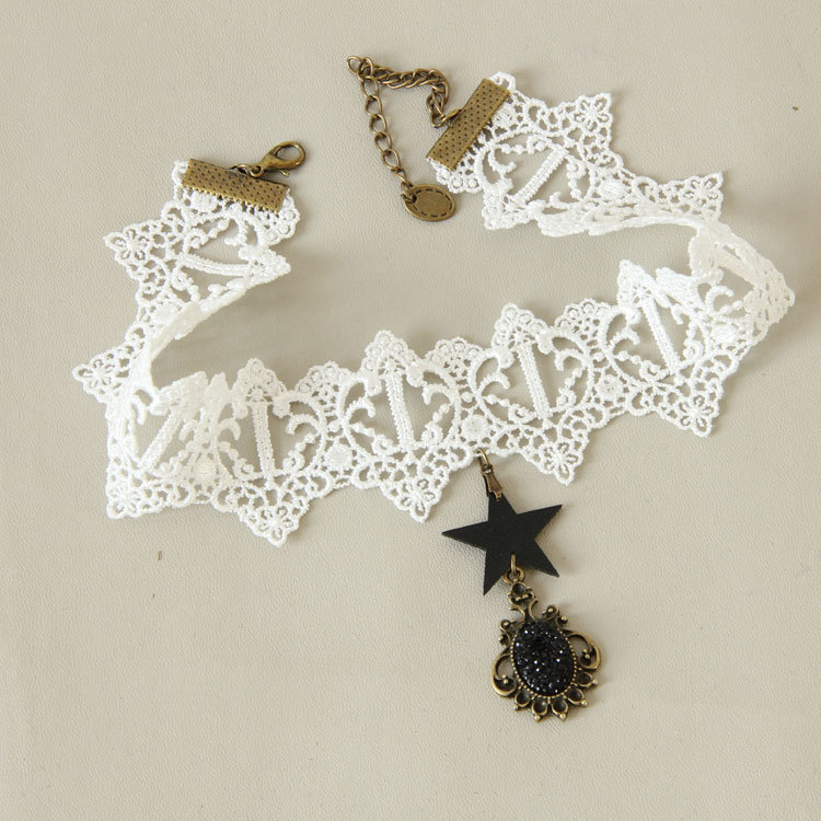 Hot 5pcs/lot Vampire Gothic Harajuku Choker Necklace Vintage Dangle Bead Star Choker Fascinator Cosplay Party Jewelry Gift JL107(China (Mainland))