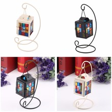 1 pc 2016 New Portable Iron&Glass Colorful Decorative Glass Candle Light Style Holder Metal Hanging Decoration Candle Stick(China (Mainland))