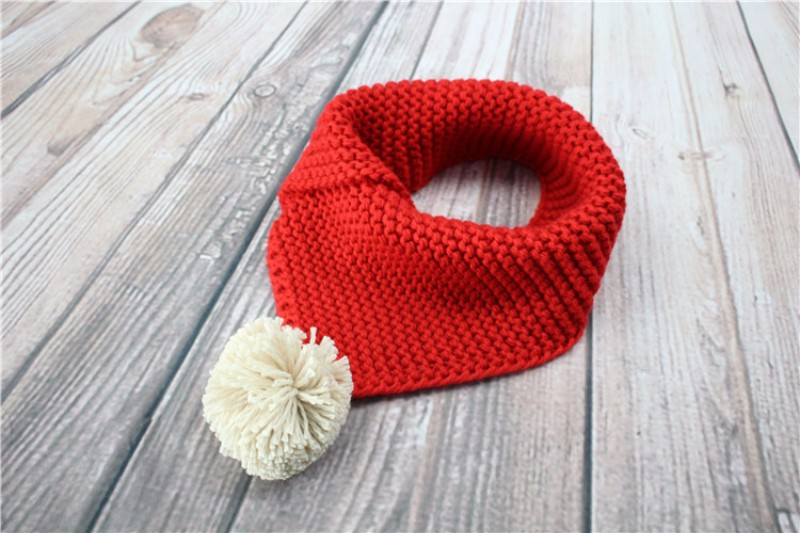 Winter Baby Clothing Accessories Bibs Knit Kids Triangular Scarf With Cute Ball o-ring collar for boys girls echarpe baberos