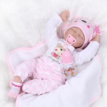 55 см Силиконовые возрождается куклы младенца жив игрушки для девушка реалистичные подарок на день рождения подарок спящая новорожденных кукла сна играть игрушка