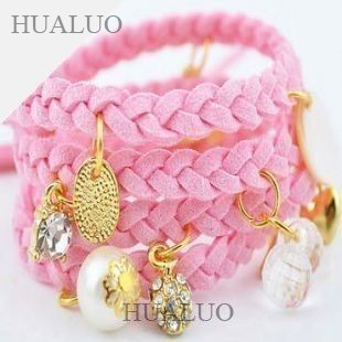 Leisure Accessories Spiral Multilayer Pendants Leather Rope Woven Bracelet B126 - B135