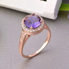 925 Sterling Silver Rings for Women Anel Feminino Female Purple Red Simulated Diamond Ruby Ring Rose