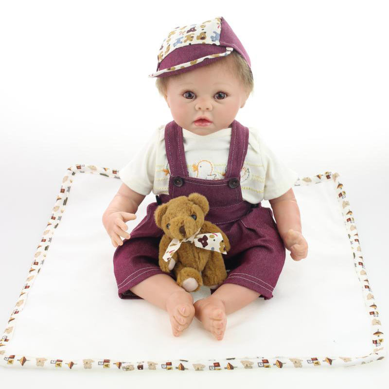 50-55CM Silicone Reborn Baby Dolls Realistic Hobbies Handmade Baby Reborn Alive Dolls For Girls Safe Training Toys  FreeShipping