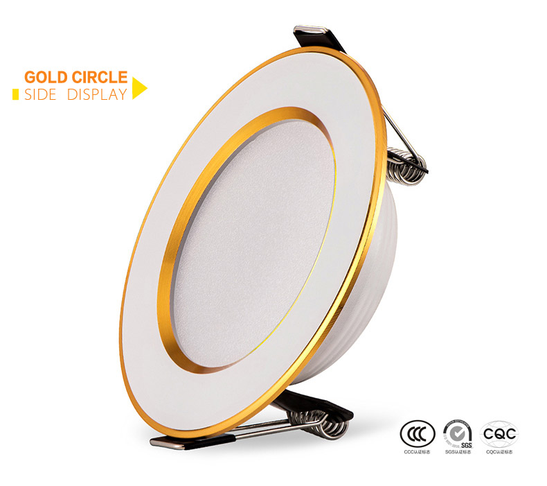 led downlight Golden circle 3w 5w 9w 12w 15w 18w 230V 220V ceiling recessed grid downlight round led panel light free shipping