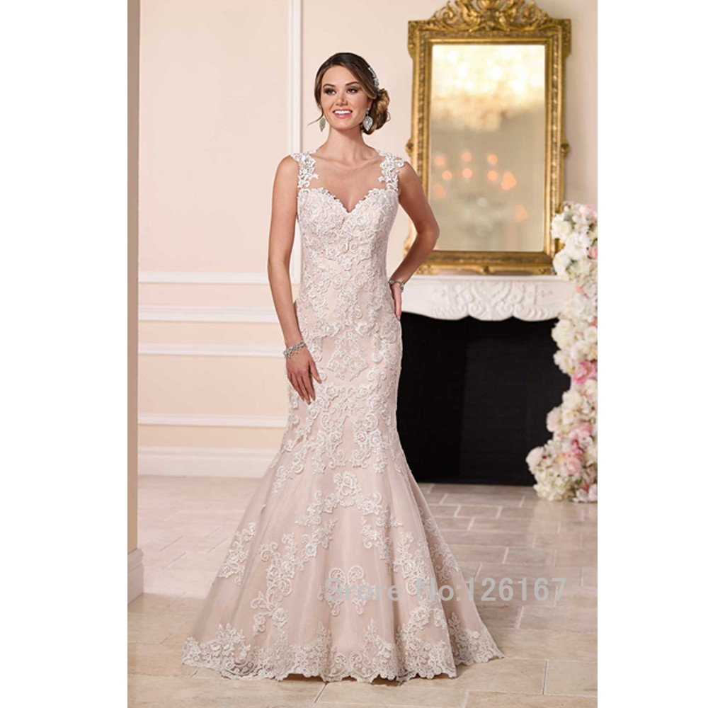 Beautiful illusion back sexy wedding dress wedding gowns for New look wedding dresses