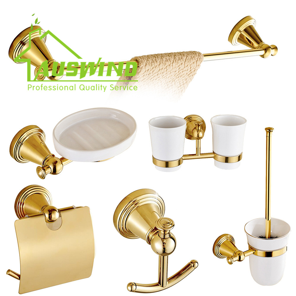 Golden Polished Bathroom Accessory Sets Europe Antique Round Bottom Wall Mounted Towel Rack/ Toilet Paper Holder/ Towel Rings(China (Mainland))