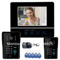 7 Video Door Phone DoorBell Intercom System Touch Panel Door Lock RFID Keyfobs 2V1