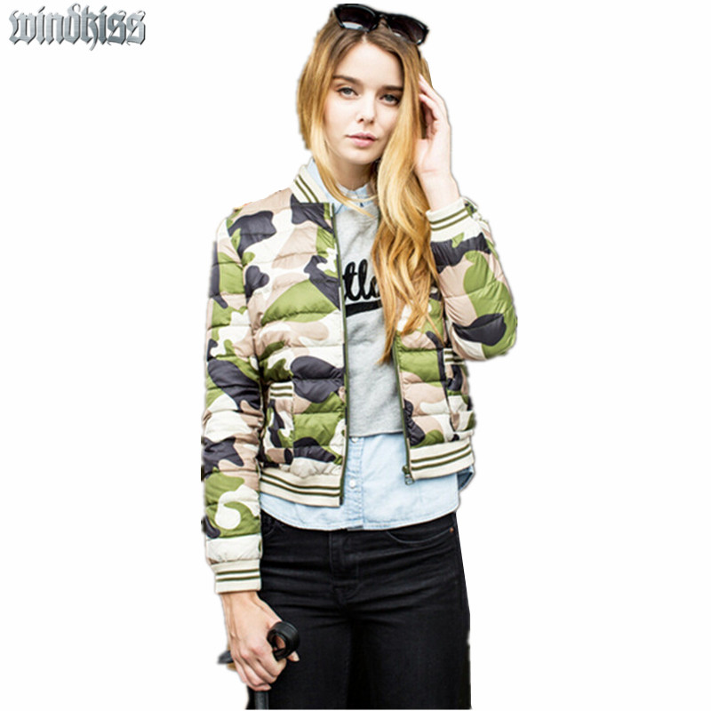 Ultra Light Women's Down Jacket 2016 Winter New Camouflage Baseball Uniform Slim Short Fashion Celebrity Trend Women Winter Coat(China (Mainland))