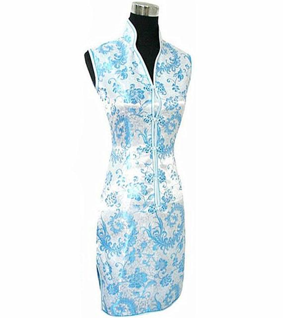 Светло-розовый традиционной китайской платье v-образным вырезом чонг - сэм мини Qipao ...