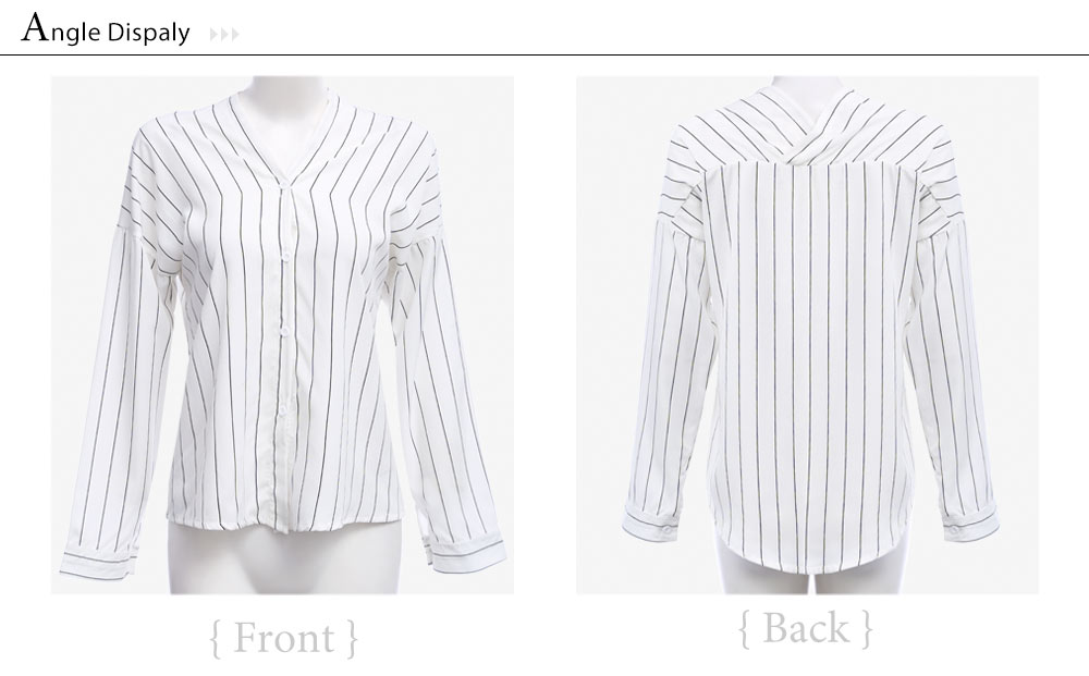 VESTLINDA Shirt 2017 Summer White Stiped Shirt Women V Neck Off Shoulder Top Blusas Long Sleeve Button Cotton Sexy Casual Shirts 11