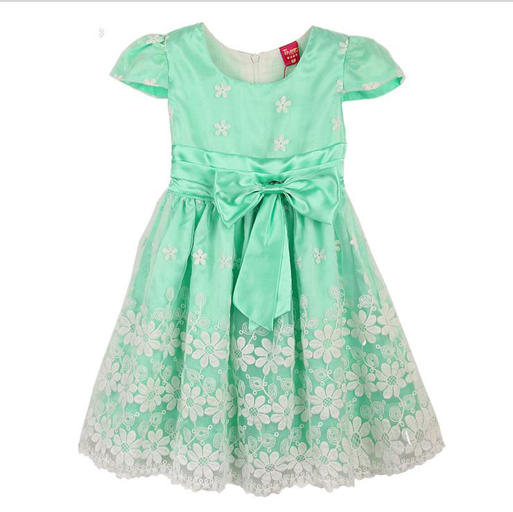2016 Hot Sale Baby Girl Princess Teenage Summer Glass Silk Bow Elegant Party Dresses, Wholesale, Free Shipping 5 Pcs/lot(China (Mainland))