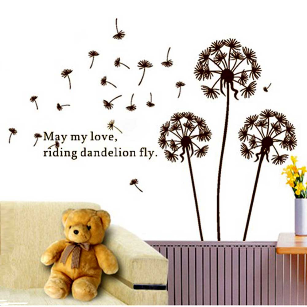 Dandelion Flower in the Wind Wall Stickers DIY Decal Art Mural Wall Sticker Home Office Living Room Bedroom Wall Stickers(China (Mainland))