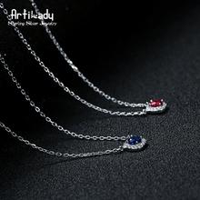 Artilady нежная роза темно-синий CZ камень ожерелье элегантный стерлингового серебра 925 ювелирные изделия для женщин подарки к Рождеству(China (Mainland))