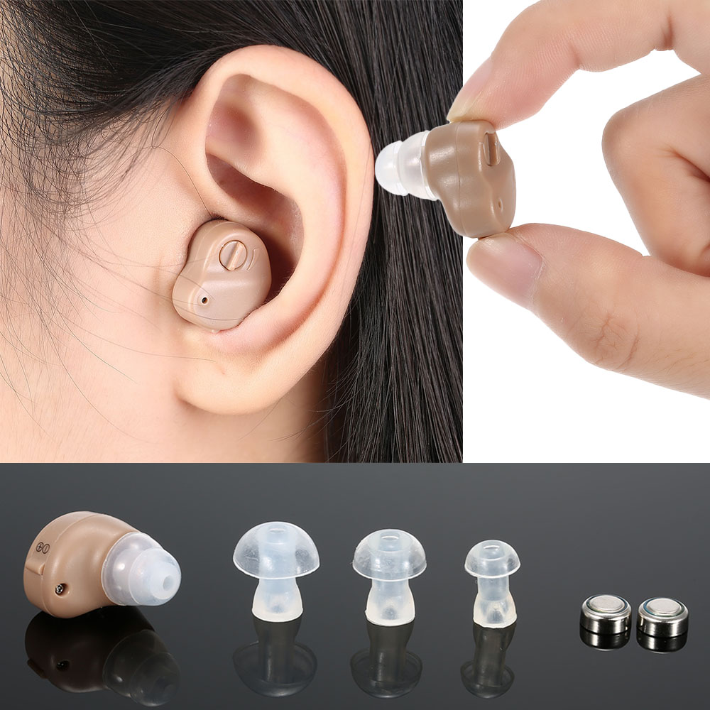 Mini In-Ear Ear Hearing Aid Device Adjustable Volume Digital Sound Amplifier with Hygiene Case Kit Button Batteries V-126(China (Mainland))