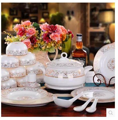 Free shipping Jingdezhen chinaware 56 bone China tableware suit Korean ceramic dishes catering gold trim package(China (Mainland))