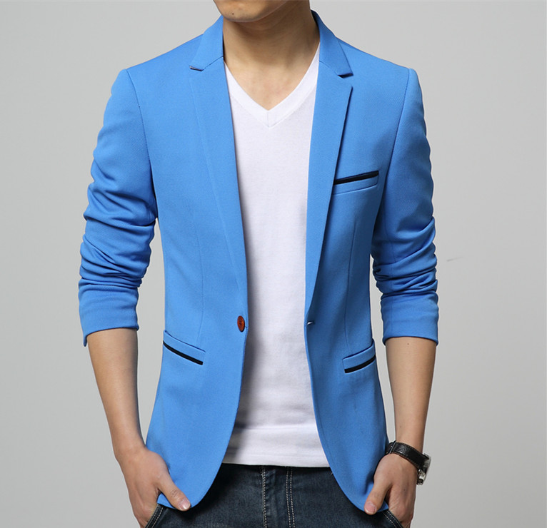 Mens Korean slim fit fashion cotton blazer Suit Jacket black blue beige plus size M 6XL Male blazers coat Wedding dress - FAST&FASHION store