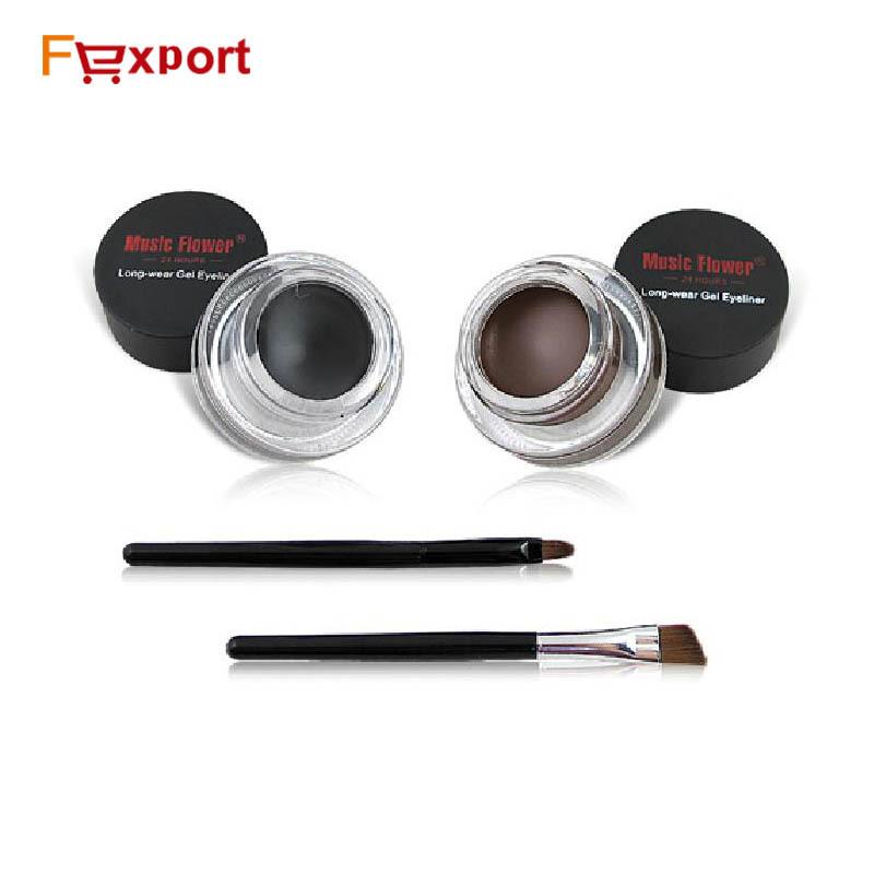 Best Seller 2 in 1 Coffee + Black Gel Eyeliner Make Up Free Shipping Waterproof Freeshipping Cosmetics Set Eye Liner Makeup Eye(China (Mainland))