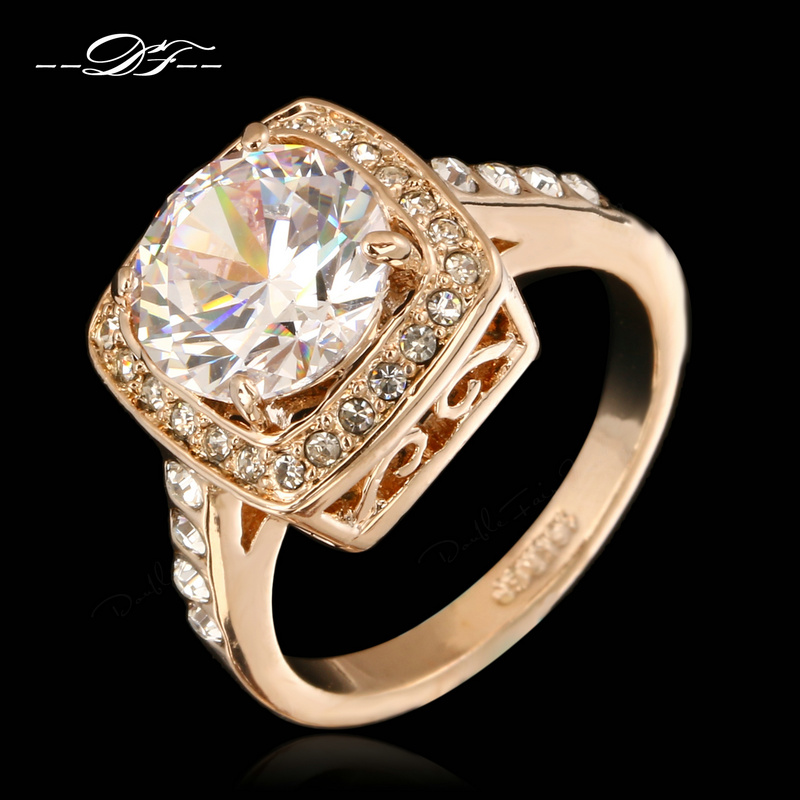 Gold Plated Wedding Rings: Big AAA+CZ Diamond Engagement/Wedding Rings Wholesale Rose