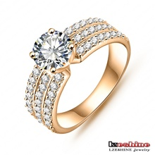 Wholesale New Promotion Trendy 18K Gold Platinum Plated AAA Zircon Women Jewelry Gift Rings Free Shipping