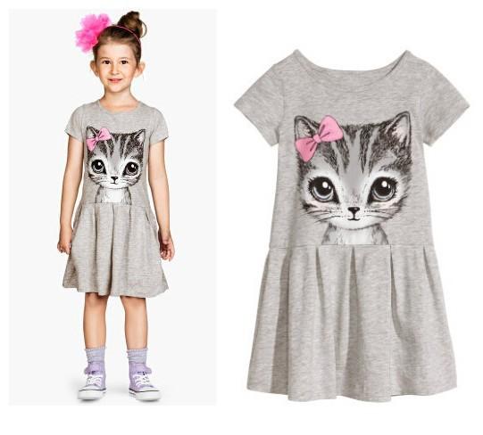 NEW HOT summer girl dress cat print grey baby girl dress children clothing children dress 3-10years(China (Mainland))