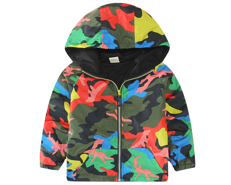 Hooded Boys Jackets Sport Camo Coats For Baby Boys Outerwears 1-8Y Children's Jackets Autumn Fluorescent Outdoor Windbreak SC142