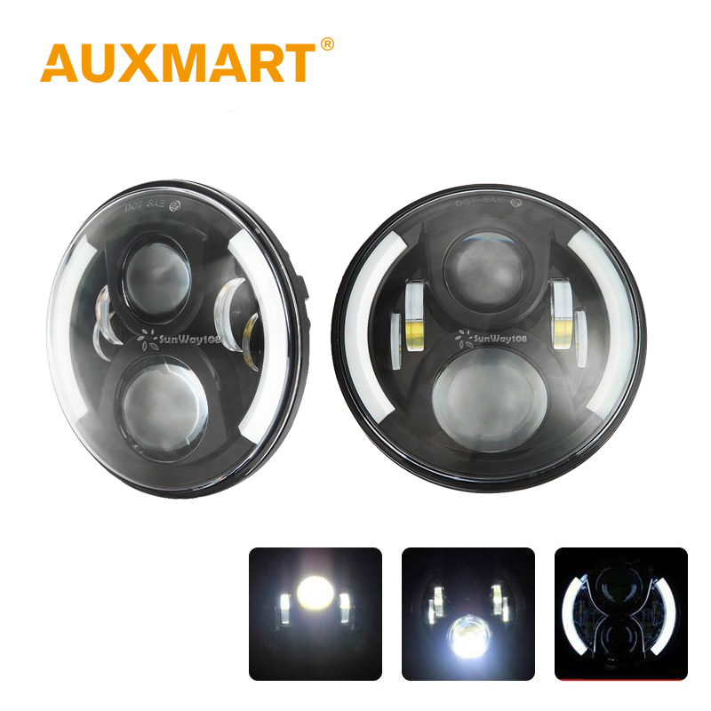 Auxmart OSRAM Chips 60W 7 Inch Round H4 Headlight LED Projector For Jeep Wrangler JK TJ LJ Land Rover Defender 90 110(China (Mainland))