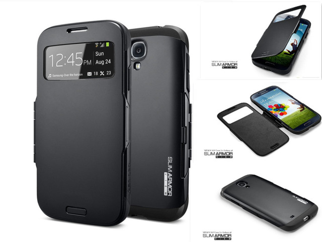For Samsung galaxy s4 SIV i9500 SPIGEN SGP Slim Armor View Automatic Sleep/Wake Flip Cover Mobile phone case Direct SHIPPING