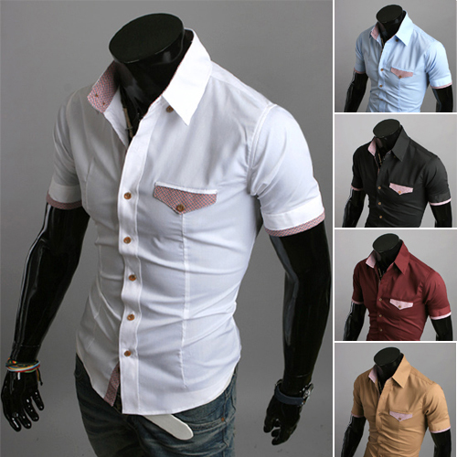 fast delivery men new 2014 summer fashion male slim pure color short-sleeve shirt casual white black Size M-XXL - China brand store