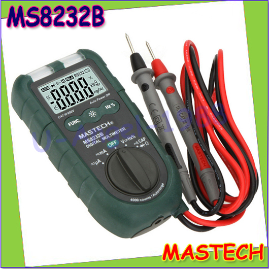 "1pcs MASTECH MS8232B 4"" Mini Auto Range Digital Multimeter DMM Frequency Capacitance Meter w/Flash Light & Duty Cycle Tester(China (Mainland))"