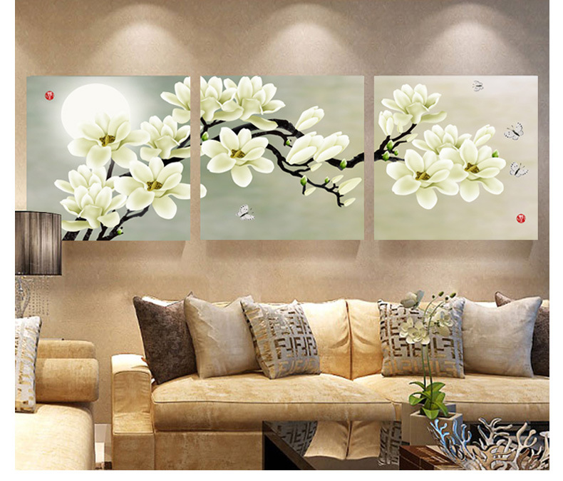 3 panel modern abstract flower painting on canvas wall art