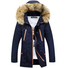 Утепленные мужские парки 2019 зимняя куртка мужские пальто мужская верхняя одежда с меховым воротником повседневное длинное хлопковое стега...(China)