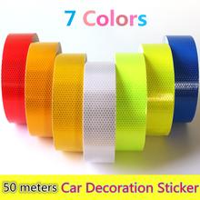 Wholesale 5cmx50m Reflective Strips Motorcycle Safety Mark Auto Decoration Car Body Stickers PVC Self Adhesive Warning Tape(China (Mainland))