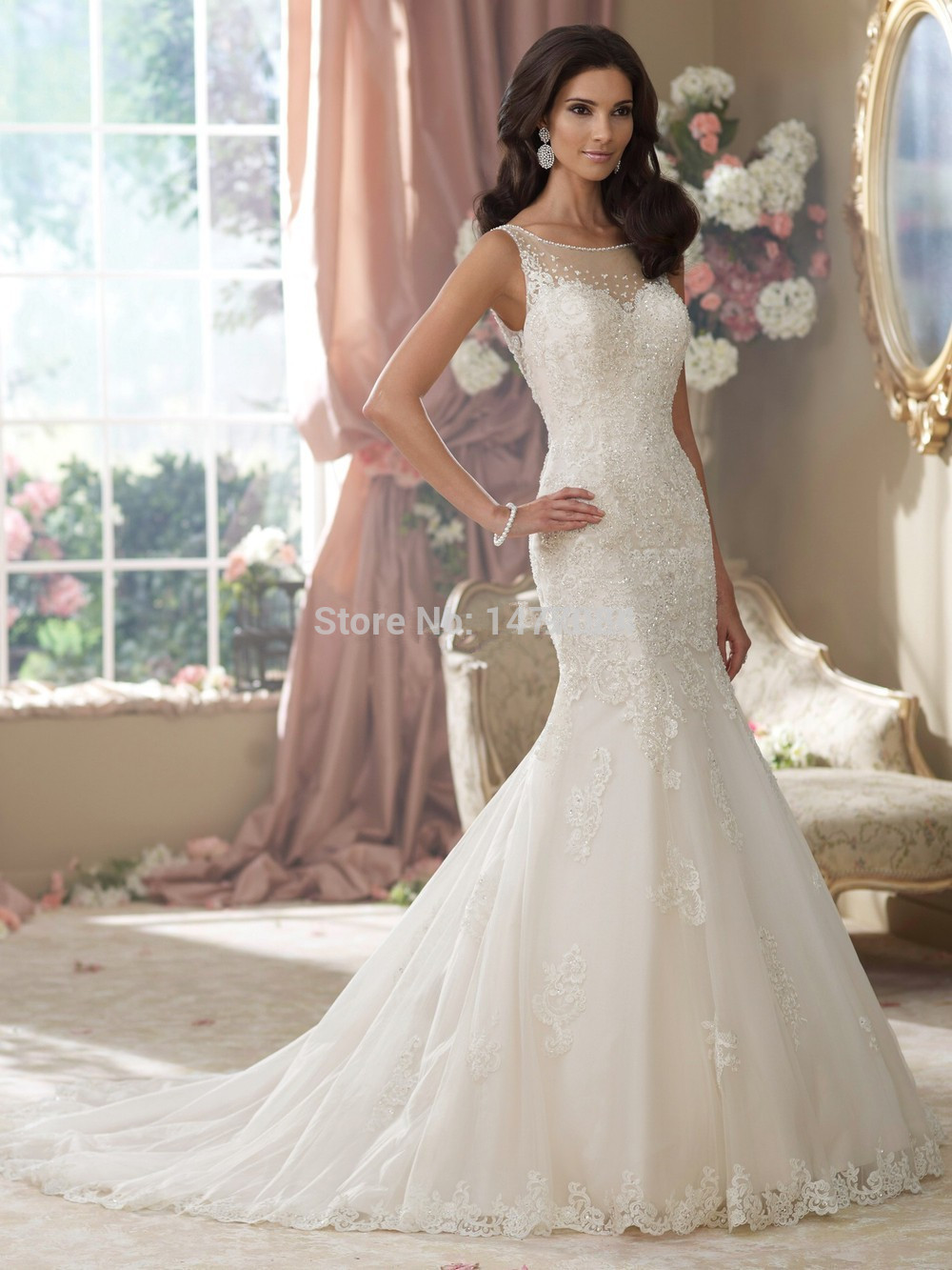 2015 Sweetheart Applique Beaded Strapless Mermaid Wedding Dress Customer Made Chapel Train Back Open ( Two wedding dress price)(China (Mainland))
