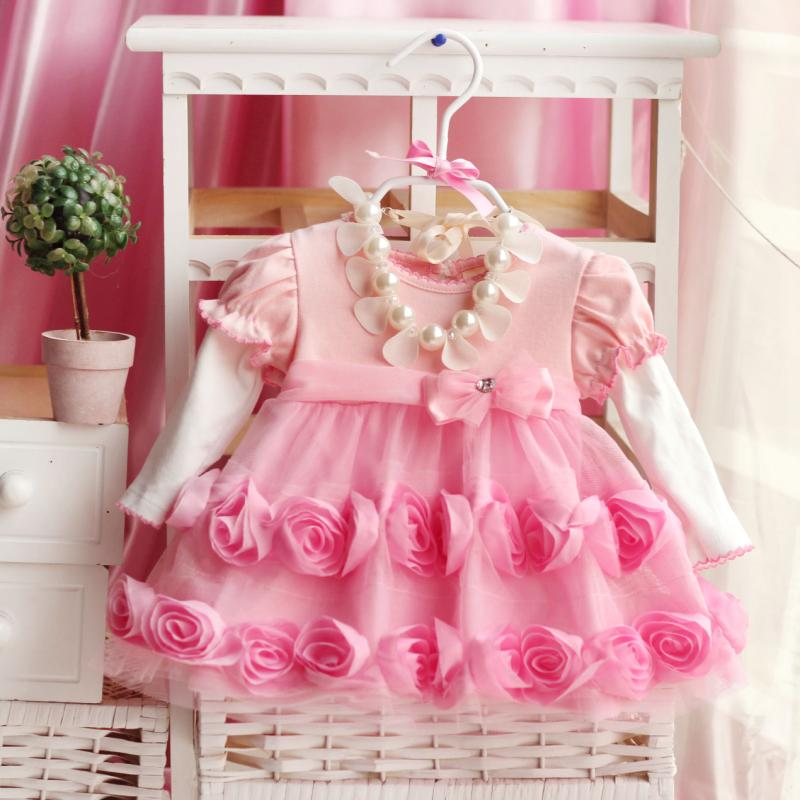Noble Baby Girls Formal 3D Pink Flower Party Dress Infant Princess Dresses X'mas gift Wedding Easter Fancy Pageant - Landears Mother & store