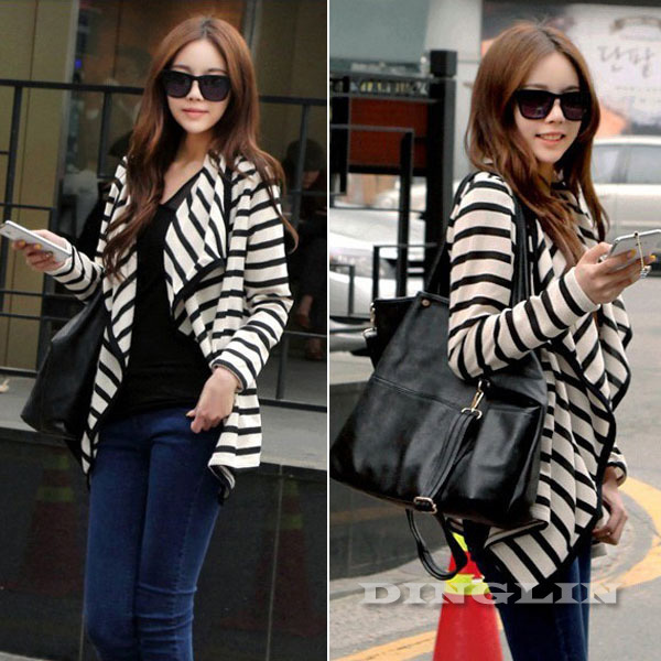 Fashion Women Ladies Long Sleeve Striped Cotton Peplum Autumn Casual Top Cardigan Blouse Jacket Size S M L 521 - good luck 777 store