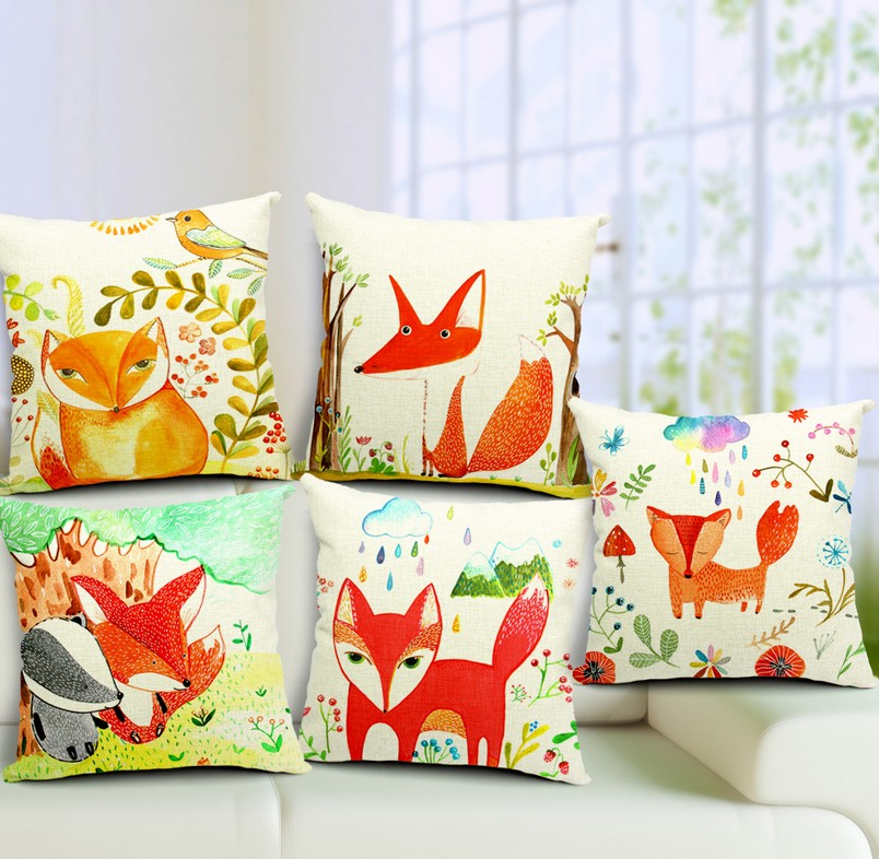 throw pillow covers, decorative sofa cushion cover pillowcases fox pattern Pillow - ninety one store