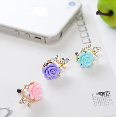 Earphone Time-limited Metal 2014 New Cwholesale Dust Plug 3.5mm Ultra Xian Resin Flower Mobile Phone Dustproof Cell Accessories(China (Mainland))