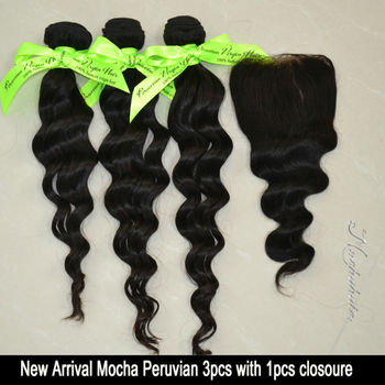"Loose Wave,1 Piece Lace Top Closure and 3Pcs Hair Bundles 100% Mocha Peruvian Virgin Hair Weft,4pcs/lot 12""-30"" Free shipping"