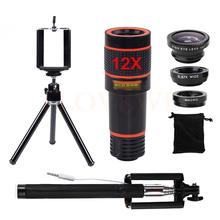Buy 12X Telephoto Zoom Lenses Telescope Mobile Tripod Monopod Selfie Stick Fish eye Fisheye Lentes Wide Angle Macro Lens Microscope for $15.29 in AliExpress store
