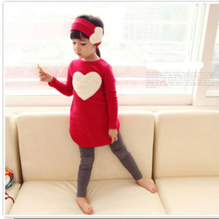 3PCS/SET pants kids Children's baby Clothing set hat Girl girls leggings winter clothes autumn warm Cloth suits Heart Design(China (Mainland))