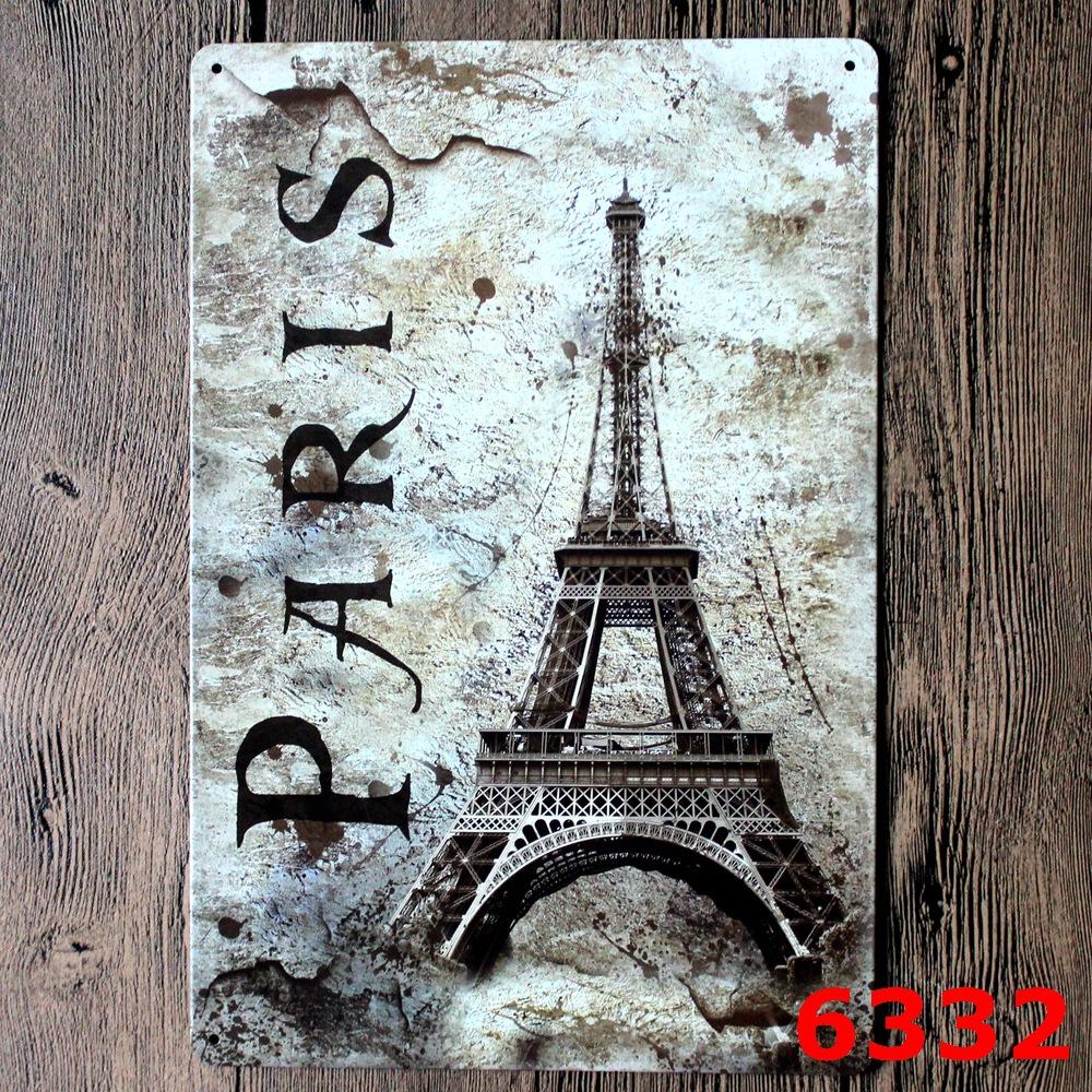 Paris tower vintage metal signs garage coffee store bar for Garage paris bar