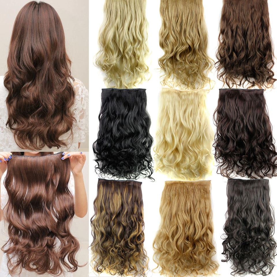 Guess fashions women Long 24inch 60cm 5 Clip in On Curly Hair Extensions Synthetic false Hairpiece b