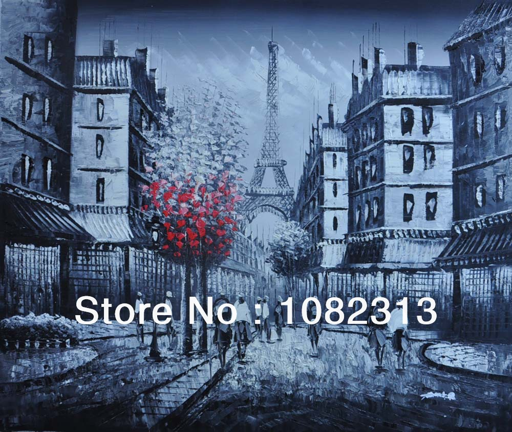 """Hand-painted Canvas Signed Oil Painting 24""""X20"""" Paris Street Red Tree Eiffel Tower White Black P353(China (Mainland))"""