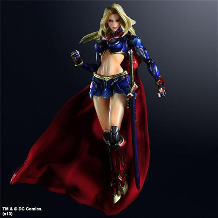 Supergirl Action Figure Play Arts Kai Movable PVC Toys 260mm Anime Movie Model Super Woman Playarts Kai(China (Mainland))