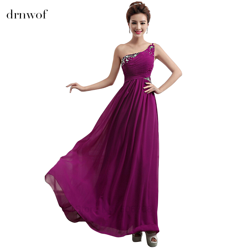 One Shoulder Purple Bridesmaid Dresses With Sequined 2016 New Grecian Style Dress Top Fashion