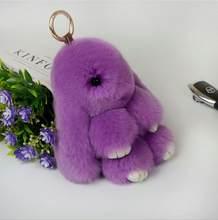 Smjel 15 cm rex fofo coelho pingente chaveiro saco de coelho feminino brinquedo coelho chaveiro de pele pom poms carro jóias presente natal(China)
